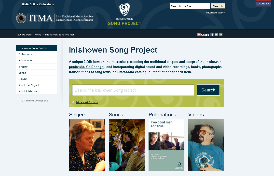 Inishowen Song Project home page